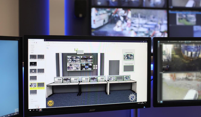 JST-Referenz Polizei Bremen Videoleitstelle: interaktive Bedienoberfläche für die Kontrollraum-Steuerung