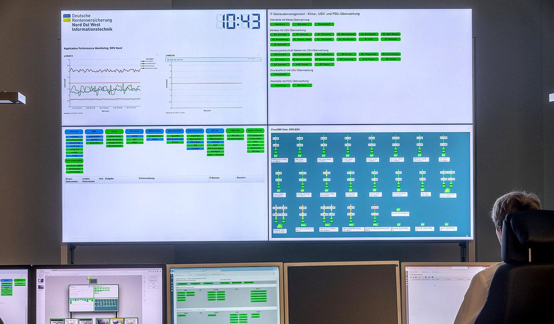 JST - Überwachung im IT-Leitstand NOW-IT - Operator-Arbeitsplatz vor Großbildwand