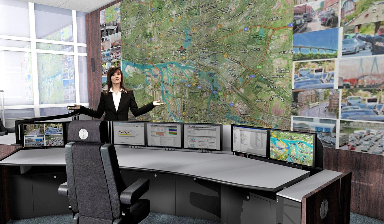 JST - Polizei Hamburg: Verkehrsleitzentrale. Fotorealistische 3d-Planung