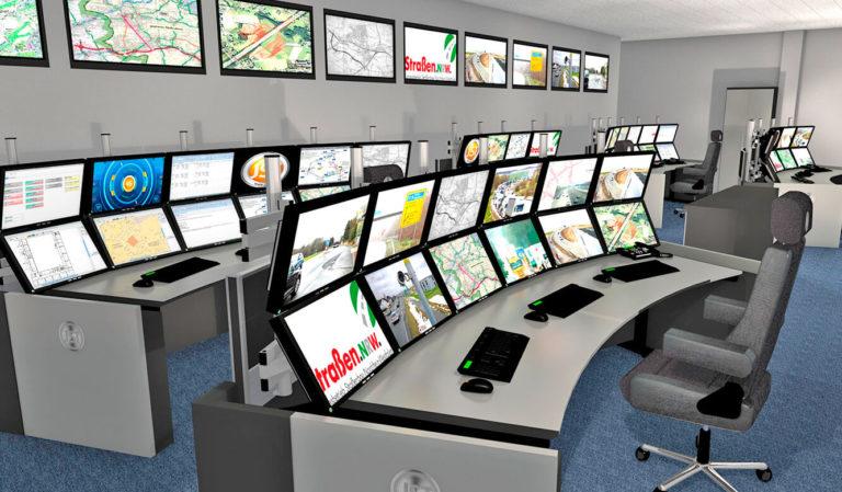 JST - Verkehrszentrale NRW: Kontrollraum. Photorealistische 3d-Planung