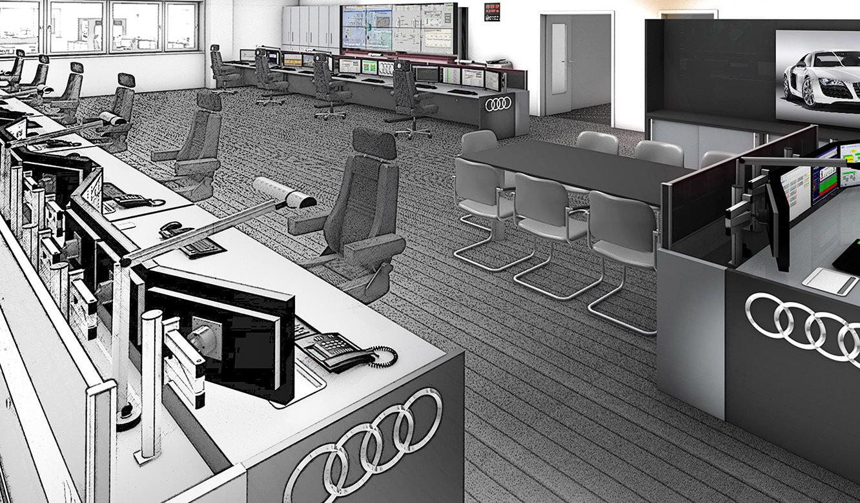 Audi Ingolstadt: Leitstand. Fotorealistische 3D-Planung