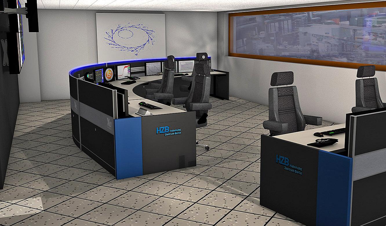 JST-Helmholtz-Zentrum-Berlin: Leitwarte. Fotorealistische 3D-Planung. Blick auf BESSY-2