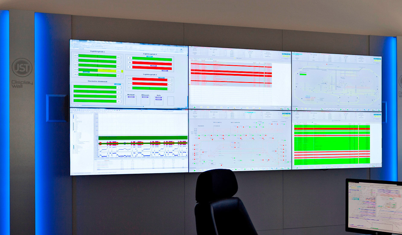 JST-Siemens Wegberg: Großbildwand mit AlarmLight