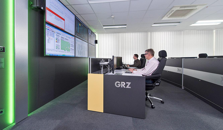 JST GRZ Linz Farbvariante grün bei der DisplayWall Beleuchtung