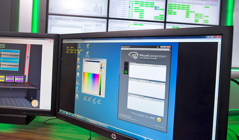 JST - s.Oliver: Monitor zeigt die Oberfläche der Alarmierungssoftware PixelDetection