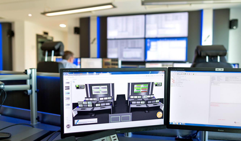 JST-Niedersächsische Wach- und Schließgesellschaft: myGUI-Bedienoberfläche für das MultiConsoling auf einem Arbeitsplatzmonitor