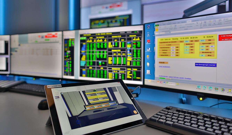 JST-InfraLeuna: myGUI-Bedienoberfläche für das MultiConsoling. Hier auf einem touch-pad