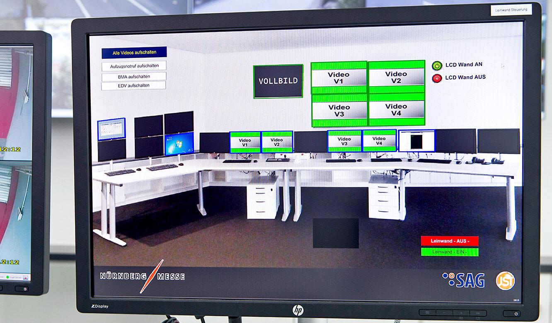 JST Referenzen - SAG Nürnberg Messe - mit der myGui-Software wird das MultiConsoling gesteuert