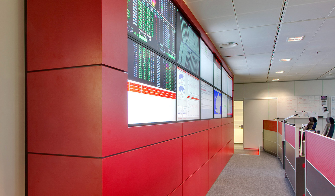 Generali Aachen - IT control centre of JST - large display wall. View from the side.