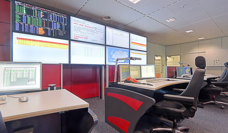 Generali Aachen - IT control centre of JST - operator workstations in front of the large display wall