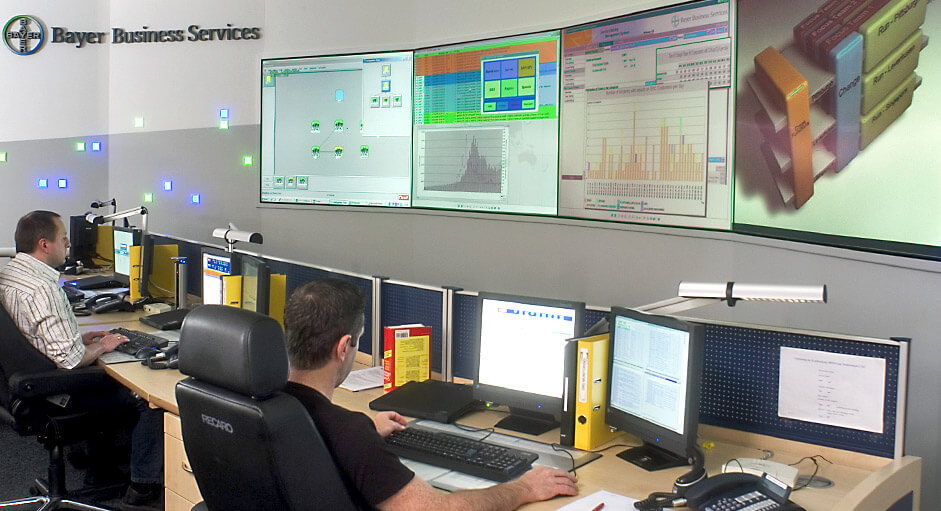 Cube-Großbildsystem im Betrieb im IT-Leitstand der Bayer AG