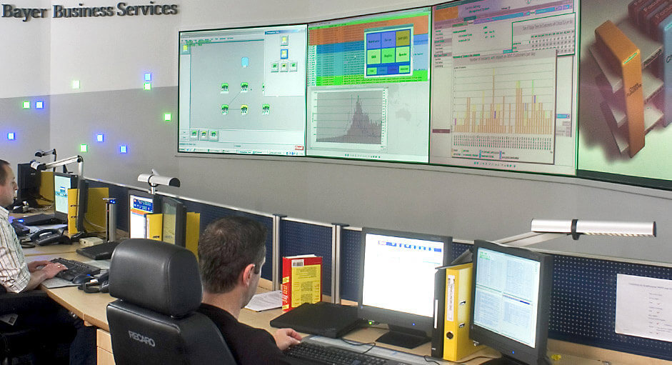 Graphic controller in use in the IT control room at Bayer Business Services