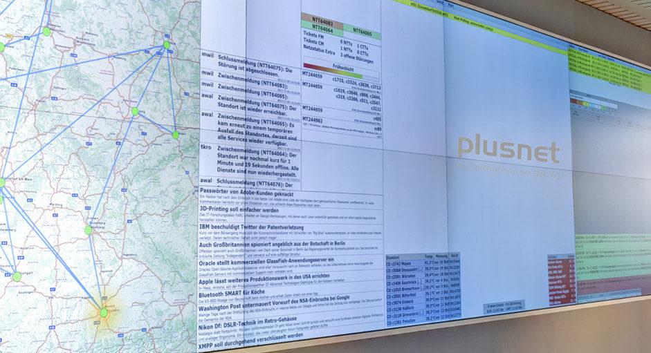 Grafik-Controller im Betrieb im NOC der Plusnet