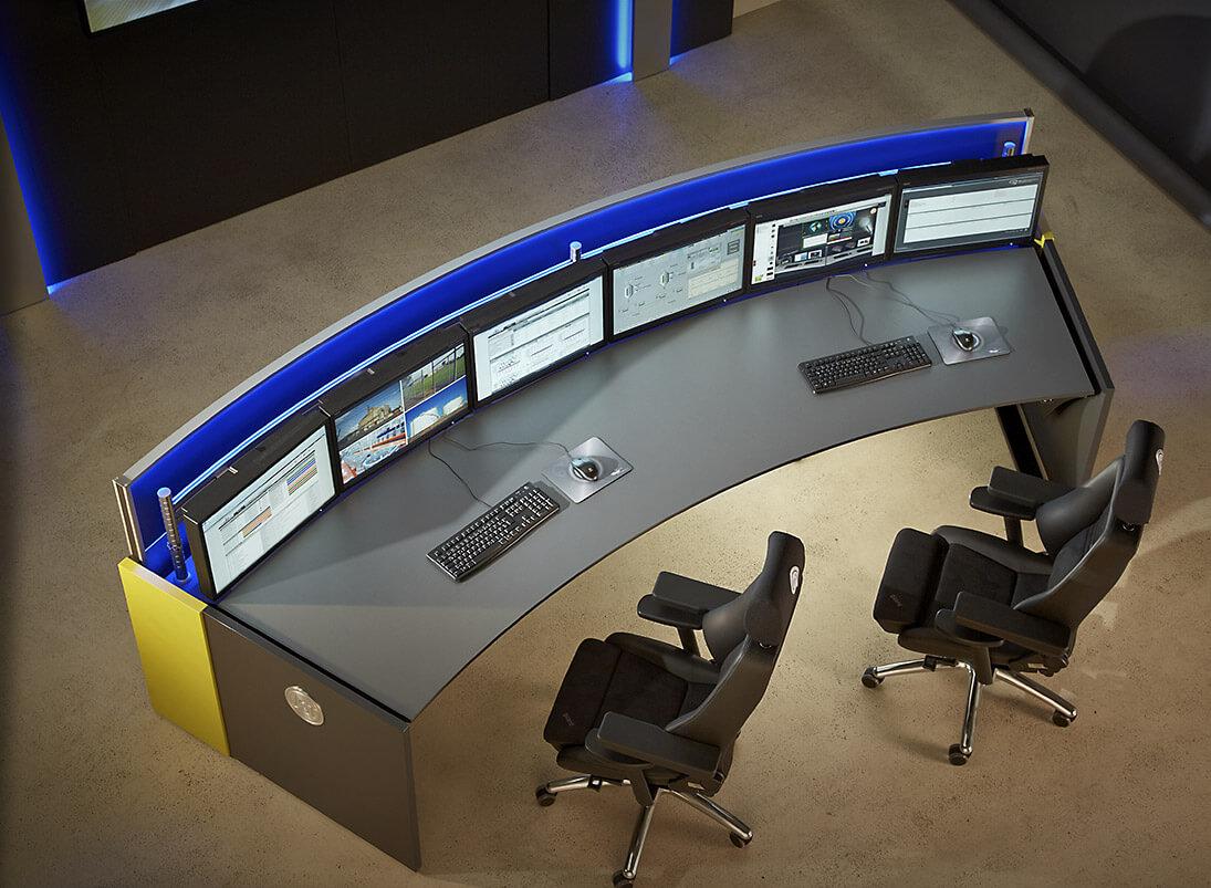 Fotorealistische 3d-Planung des Leitstand-Möbelsystems von JST