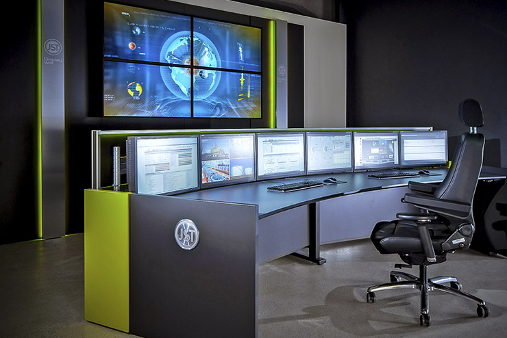 Control room furniture: ergonomic operator consoles, Recaro operator chair, AllMedia Conference System
