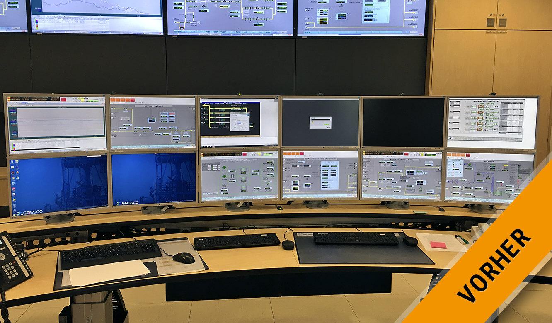 JST Gassco Emden: vorher schwer zu überblicken zwölf Monitore Arbeitsplatz
