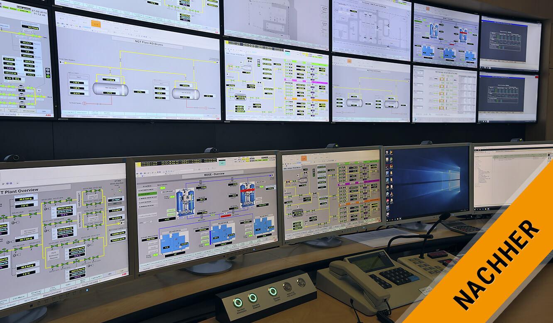 JST Gassco Emden: Nachher. Großbild-Displays und Arbeitsplatz-Monitore perfekt im Blick