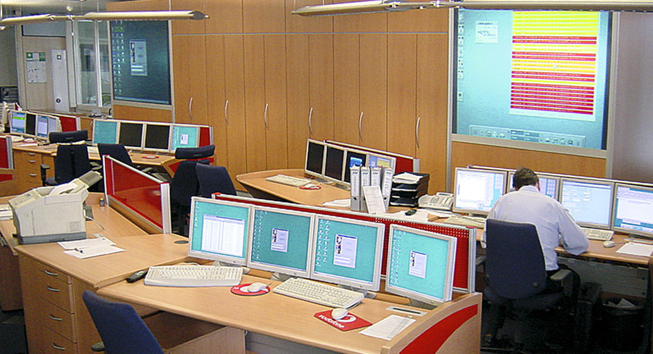Cube-Großbildsystem im Betrieb im NOC bei Vodafone