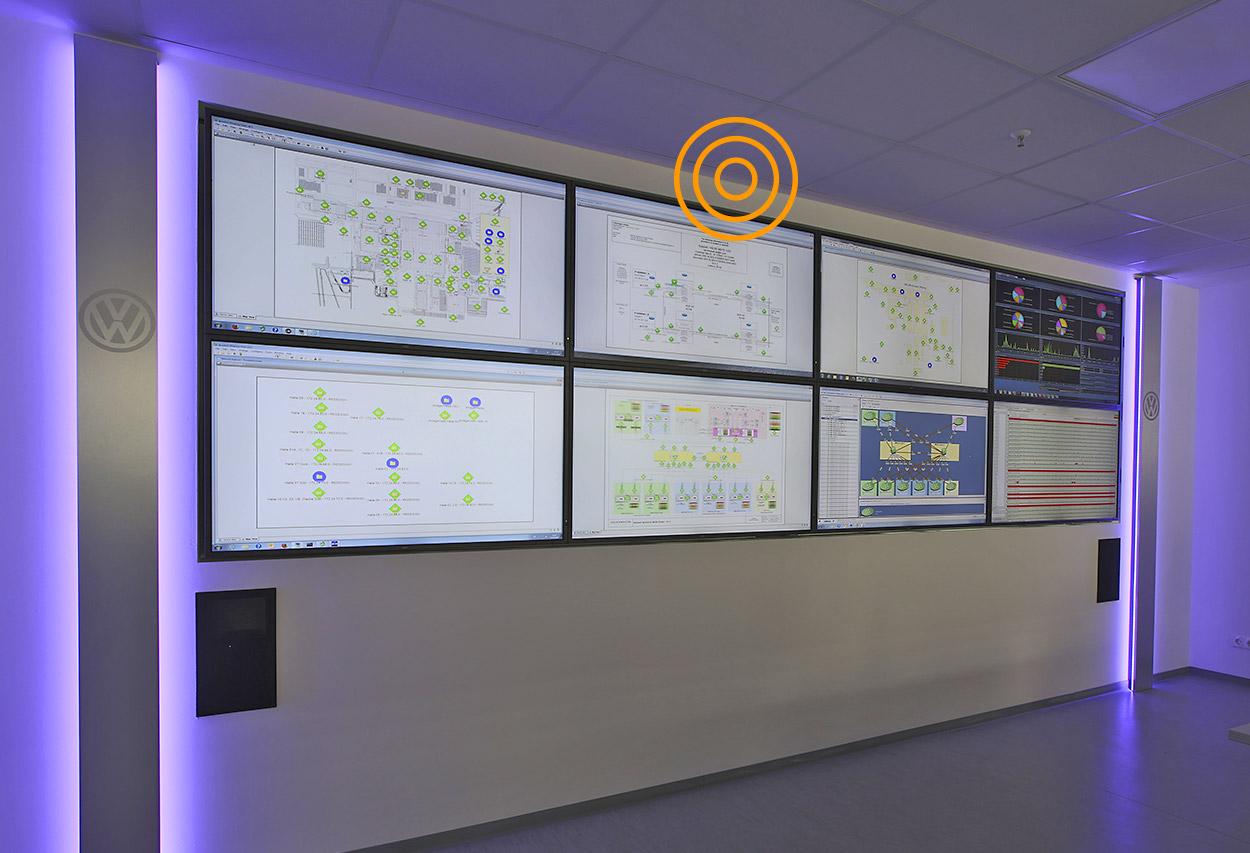JST-Leitwartemoebel: Umfeldmöblierung für Kontrollraum. Verkleidung der Großbildschirme