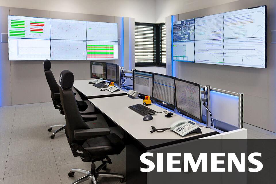 JST-News: Siemens-Wegberg. Leitwarte mit Grossbildwand und Operator-Tisch