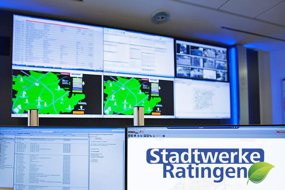 JST-News: Stadtwerke Ratingen. Großbildwand aus dem Blickwinkel des Operators