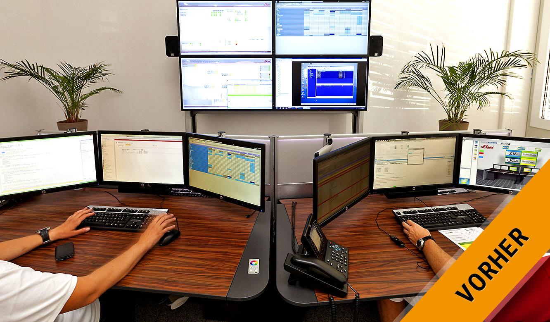 JST - s.Oliver: Kontrollraum mit vier Displays im Display-Rack vor dem Umbau