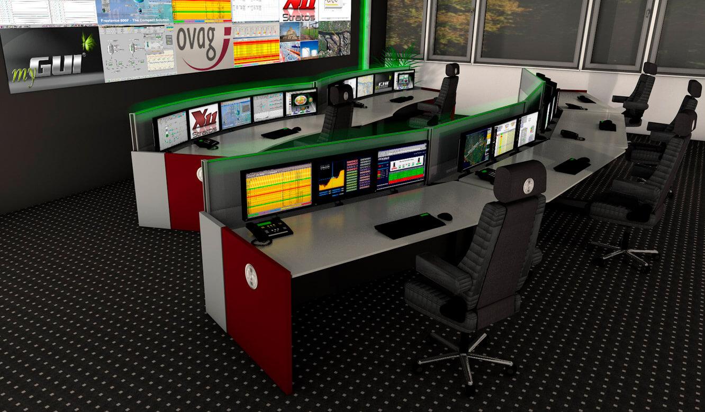 JST - ovag Netz GmbH - Netzleitstelle: 3D-Planung der Leitwarte mit ergonomischen Möbeln und Monitorwand