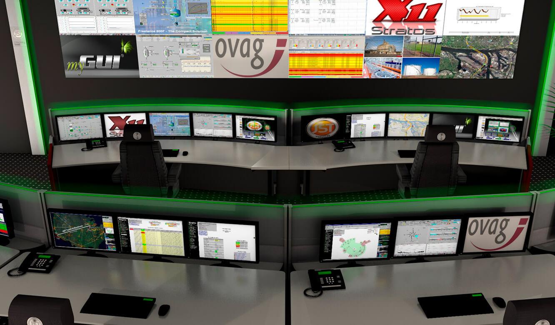 JST - ovag Netz GmbH - Netzleitstelle: 3D-Planung der Leitwarten-Arbeitsplätze. Vor der Monitorwand.