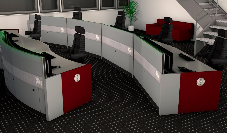 JST - ovag Netz GmbH - Netzleitstelle: rueckwärtige Ansicht der Operator-Arbeitstische in der Planung