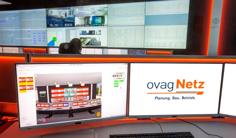 JST - ovag Netz GmbH - Netzleitstelle: grafische Bedienoberfläche der MultiConsoling Ansteuerungstechnik in der Leitwarte