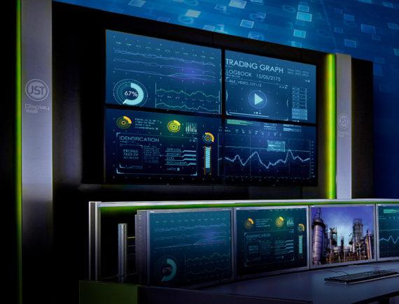 JST-DisplayWall aus mehreren Monitoren mit einem schmalen Rand