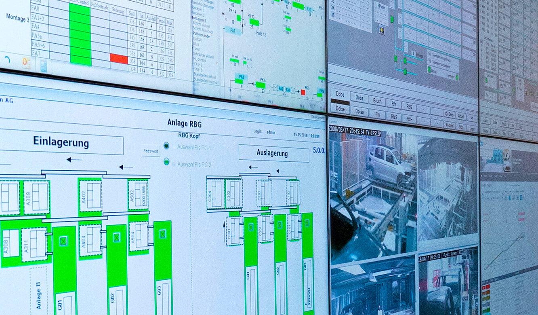 JST Volkswagen FIS-Leitstand: Monitorwand mit ultraschmalen Display-Rahmen