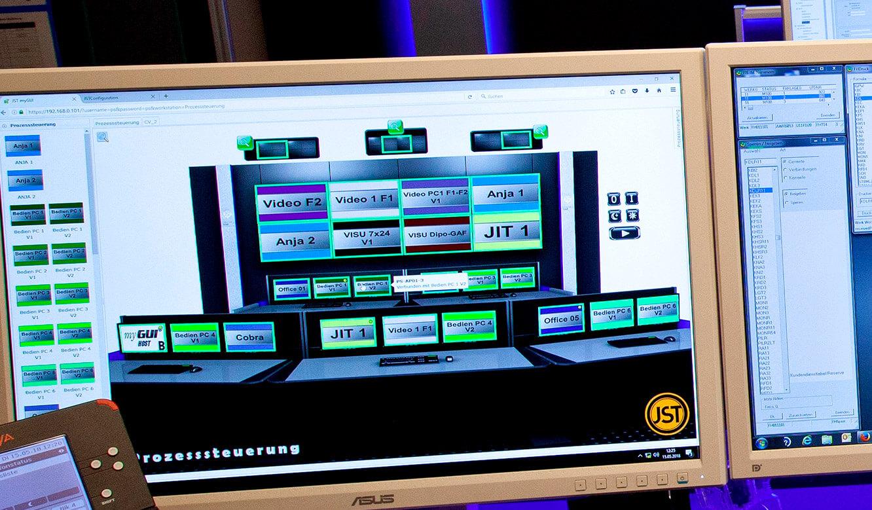 JST Volkswagen FIS-Leitstand: interaktive myGUI-Bedienoberfläche für das MultiConsoling