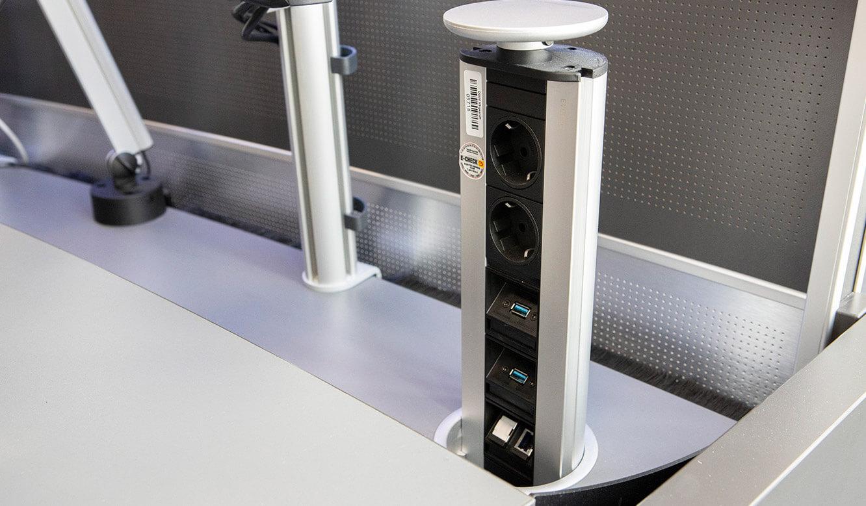 JST Referenz Leitwarte EFM Flughafen München: Versenkbares Power-Port-Data-Modul