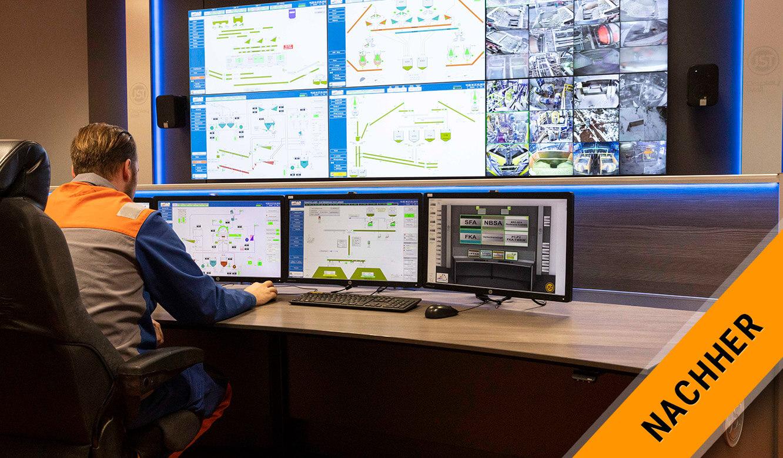 JST VA Erzberg: Moderne Leitwarte mit Monitorwand und Leitstandtisch