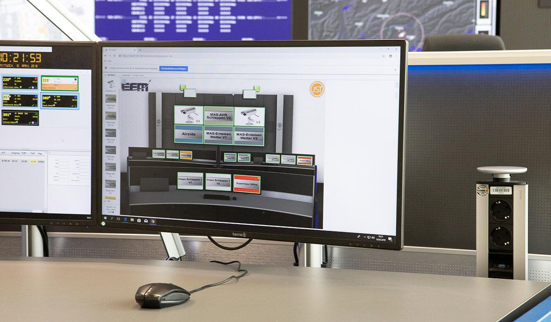 JST Referenz Leitwarte EFM Flughafen München: Intuitive myGUI-Bedienoberfläche für MultiConsoling