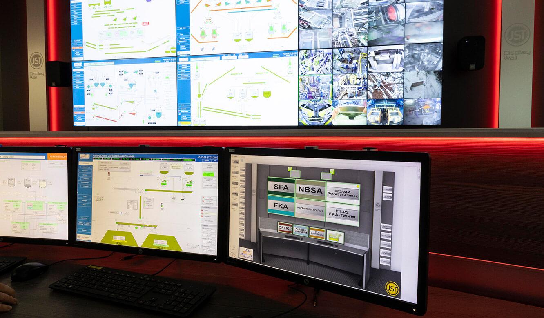 JST VA Erzberg: Belichtung Leitstand miz VideoWall und Operator-Arbeitsplatz