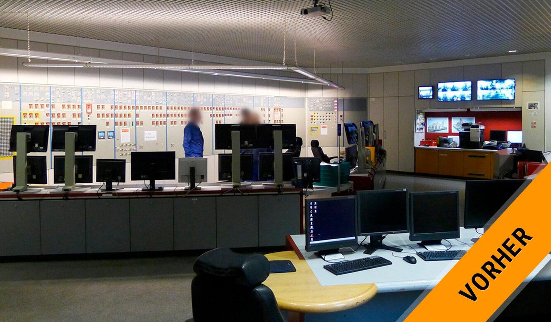 JST INEOS Oxide: moderne Leitstandtechnik und ergonomische Möbel. Bedienplatz vorher