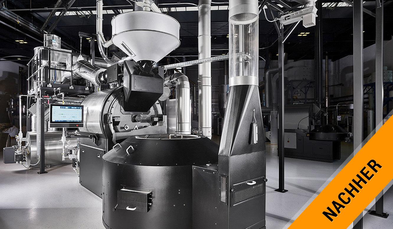 JST Probat-Werke Leitwarte Produktion-Showroom: Kaffeeröstmaschine heute Trommelröster
