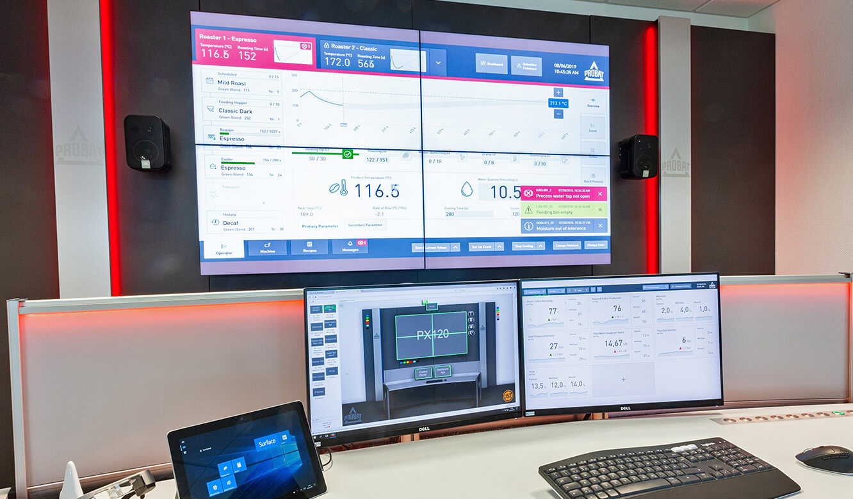 JST Probat-Werke Leitwarte Produktion-Showroom: rotes Alarmlight für visuelle Alarmierung