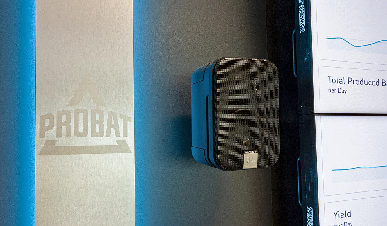 JST Probat-Werke Leitwarte Produktion-Showroom: akustische Alarmsignale