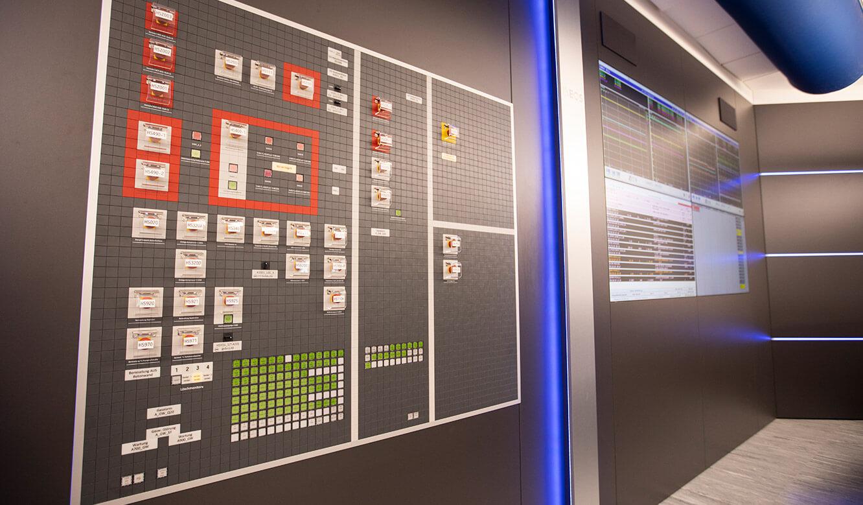 JST INEOS Oxide: moderne Leitstandtechnik und ergonomische Möbel. Mosaikschalttafel in Kontrollraum integriert