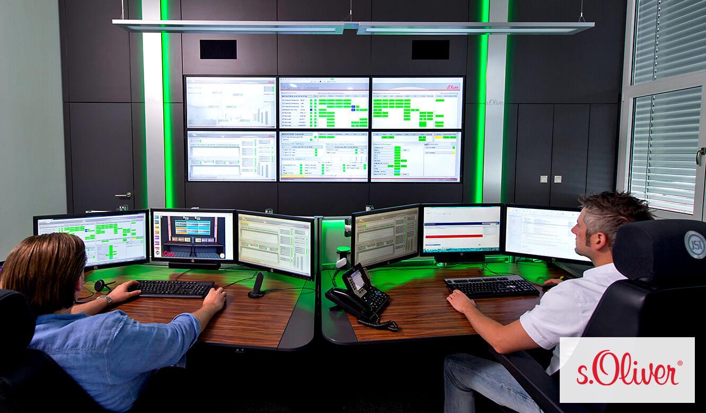 JST Monitorwand DisplayWall im modernen Leitstand von s.Oliver