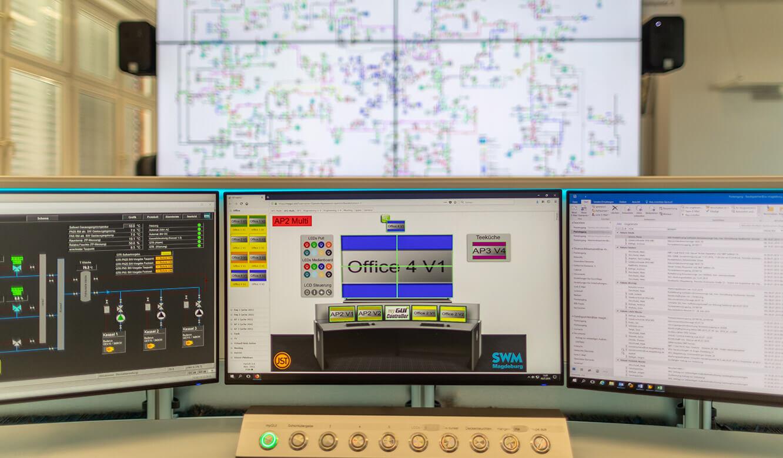 JST Leitwarte Energieversorger Städtische Werke Magdeburg: Großbilddisplays mit ultraschmalen Rahmen