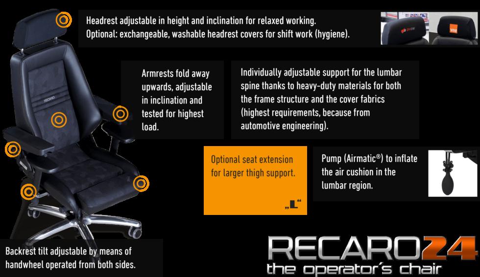 JST Technical data for the operator chair Recaro 24