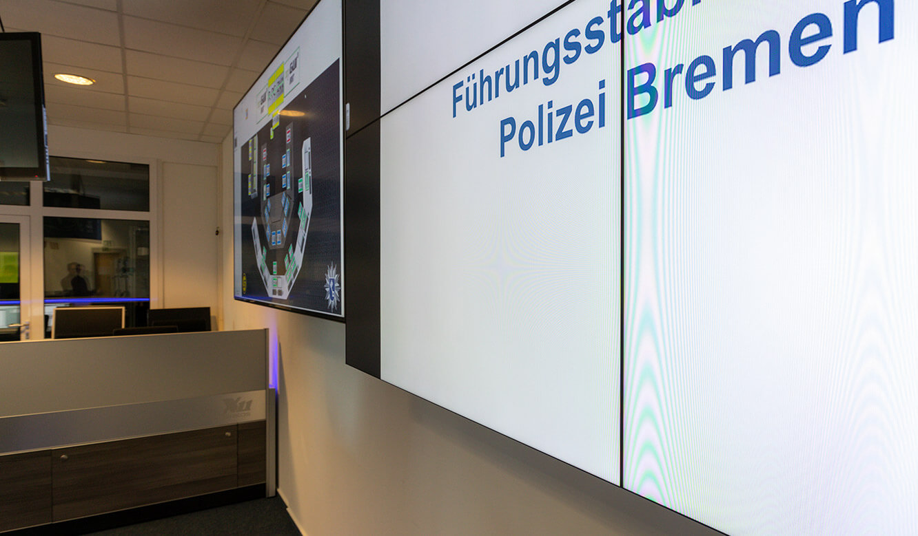 JST reference Bremen Police Video control centre: ultra-small frames at large-screen monitor of the video wall