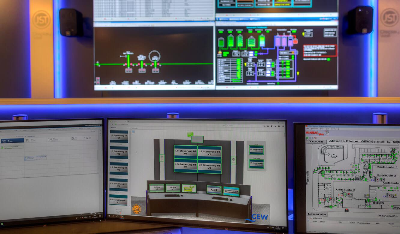JST-Referenz GEW Energieversorger: Netzleitstelle. Interaktive Bedienoberfläche ermöglicht benutzerfreundliche Steuerung der Videowall