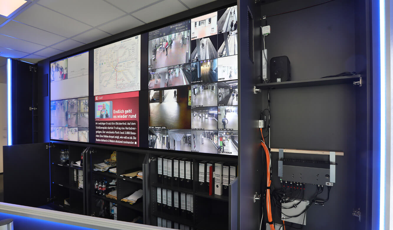 JST Referenz protec service GmbH - modern IT solution emergency control center - multifunctional video wall with large space in storage compartments
