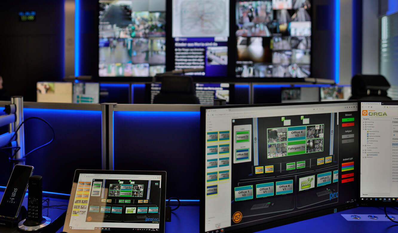 JST Referenz protec service GmbH - modern IT solution mission control center - intuitive MyGUI user interface for control room management