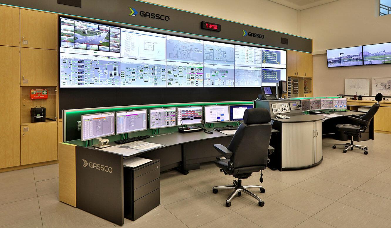 JST Referenz Energieversorger Gassco Emden Erdgas-Messwarte - Videowall hat Displays mit extra schmalen Rahmen